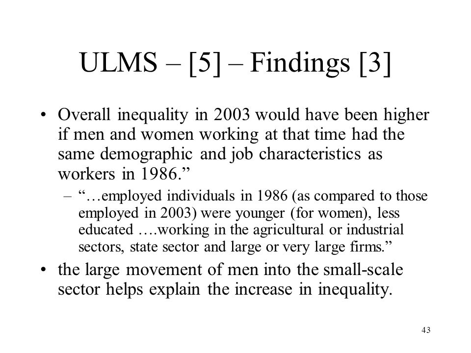 ULMS – [5] – Findings [3]